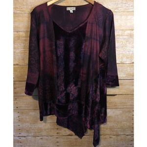 Purple and Black Asymmetrical Top